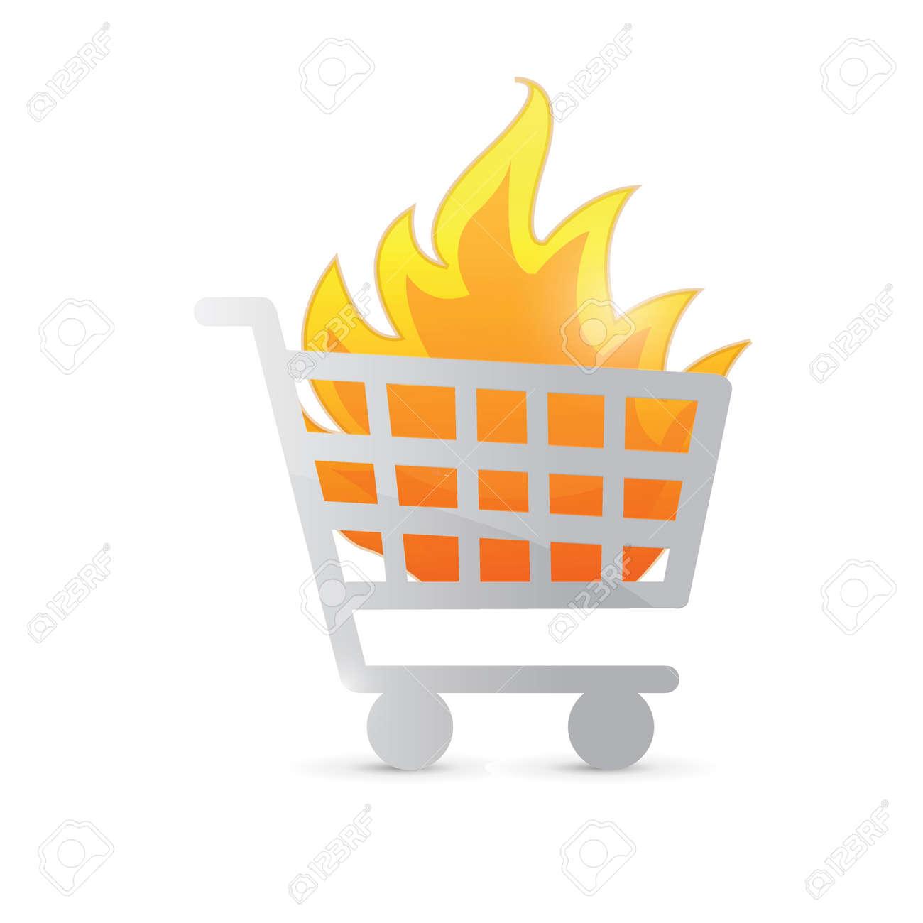 Carrito de la compra en la ilustración del diseño del fuego sobre un fondo  blanco