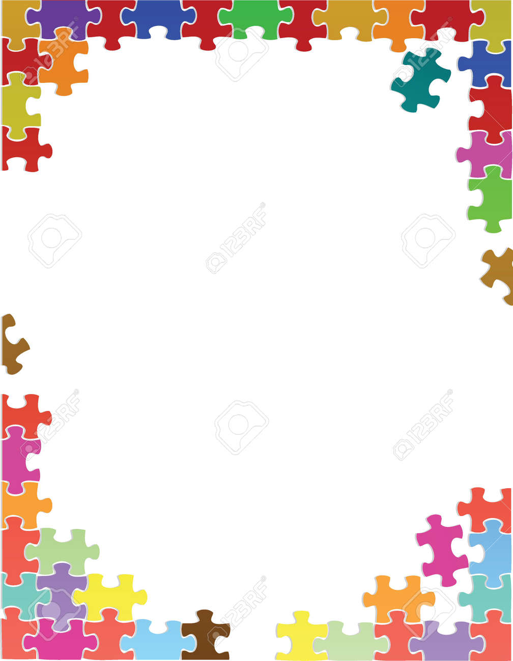 purple puzzle pieces border template illustration design over