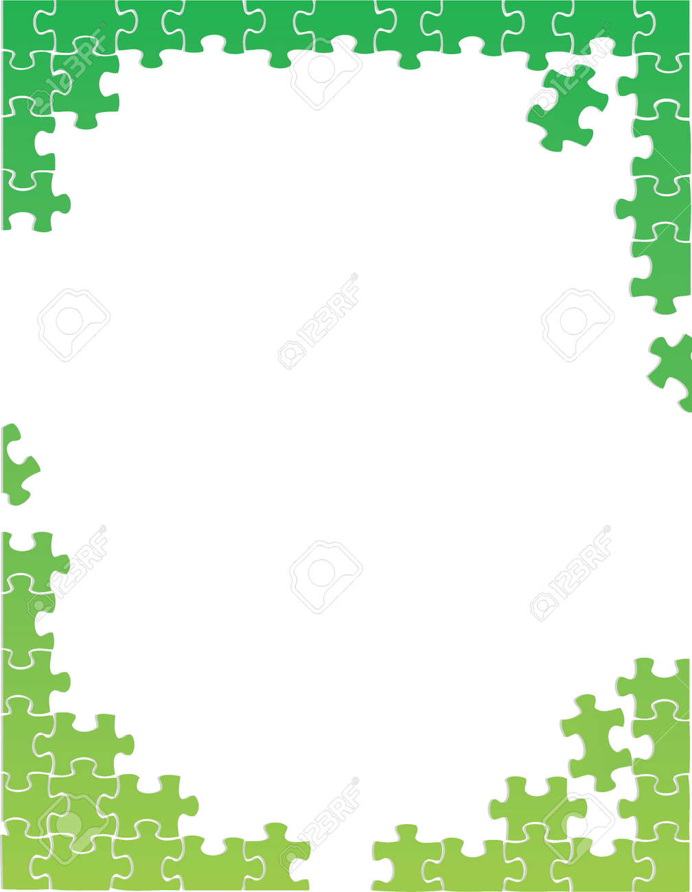 green puzzle pieces border template illustration design over