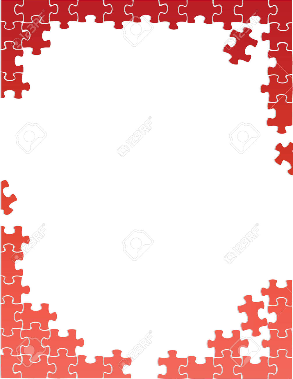 Red Puzzle Pieces Border Template Illustration Design Over A ...