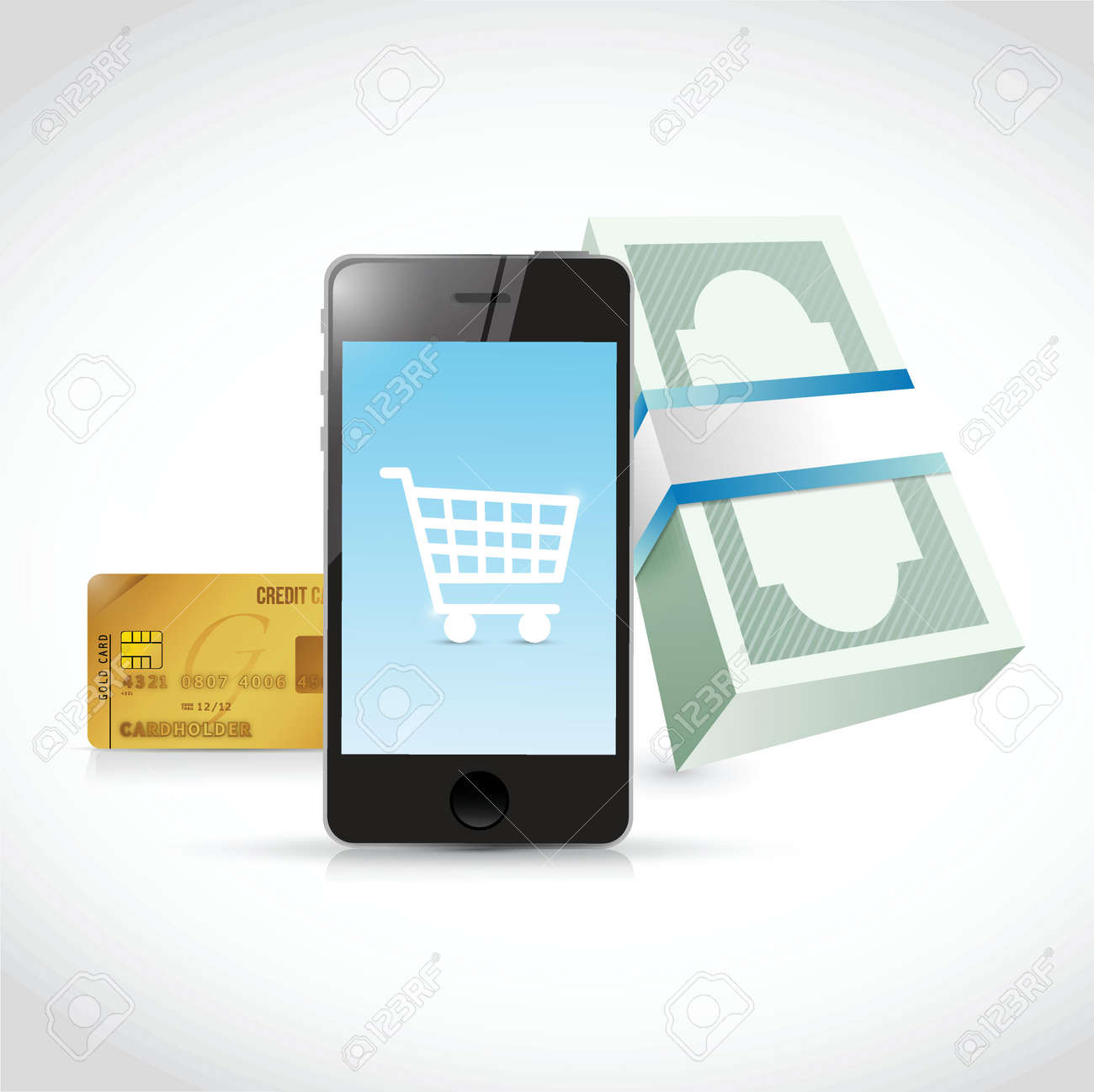 phone shopping concept illustration design over a white background Stock Vector - 28794384
