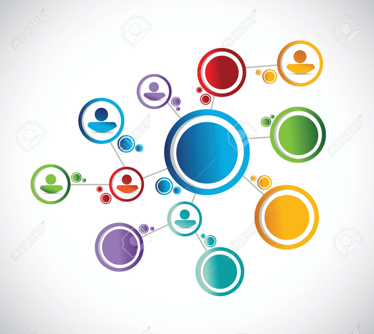Network Connection Diagram Color People Illustration Design Over A White Background Stock Vector 28794250
