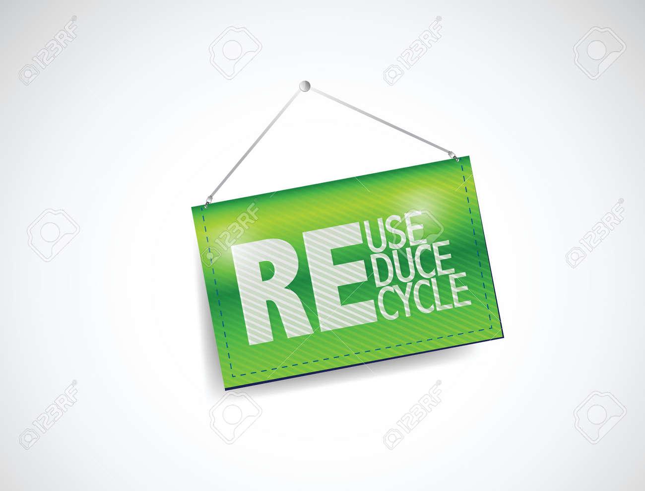 Reducir, Reutilizar, Reciclar Colgando Diseño Ilustración De La ...