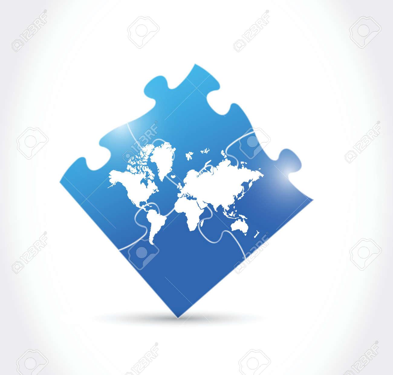 World map blue puzzle illustration design over a white background vector world map blue puzzle illustration design over a white background gumiabroncs Images