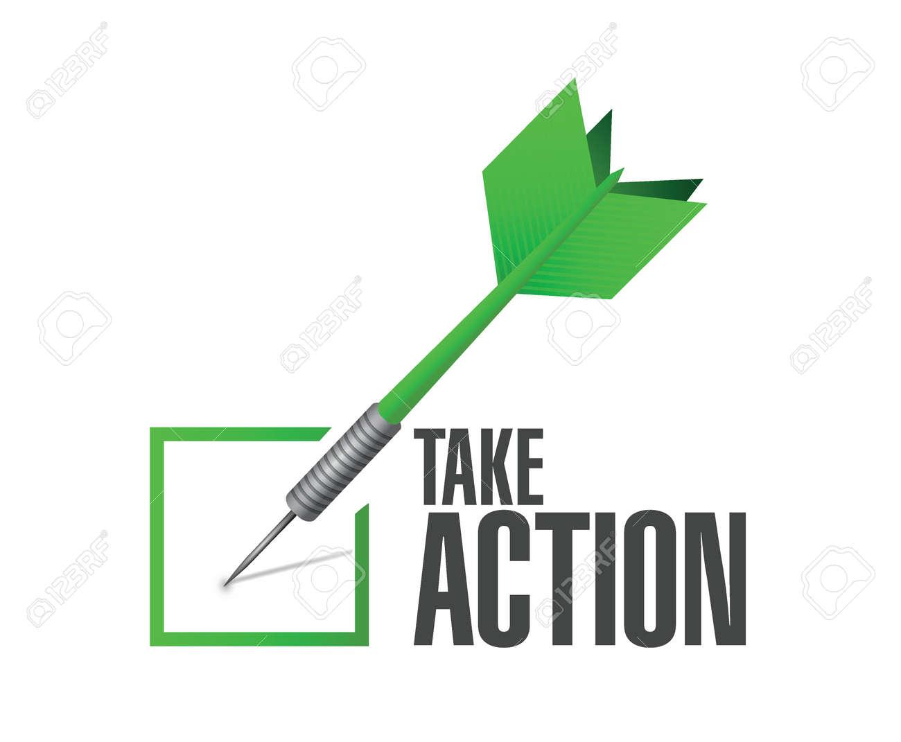 take action check dart sign illustration design over a white background - 36658782