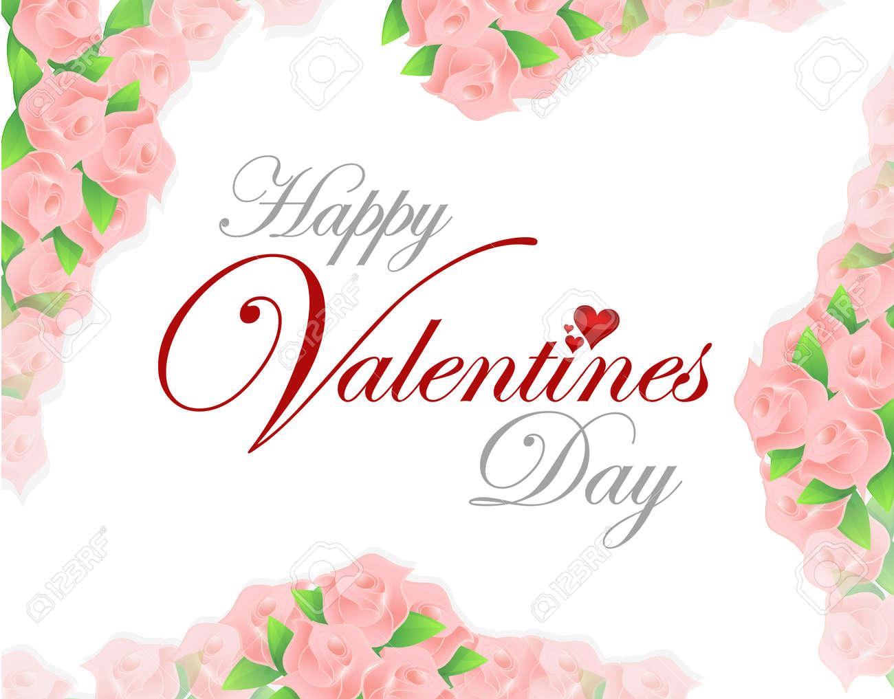 Happy Valentines Day Pink Roses Card Illustration Design Over