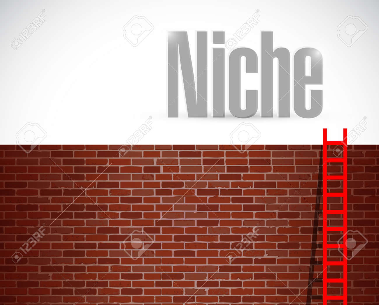 Clime to the niche ladder concept illustration design over
