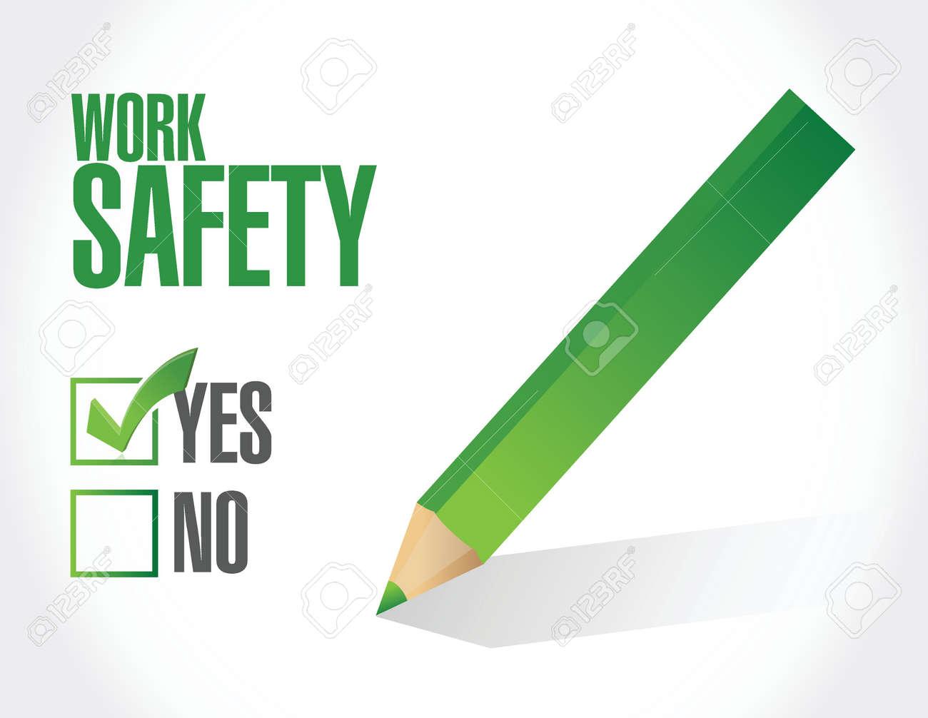 work safety check mark sign concept illustration design over white - 38010461