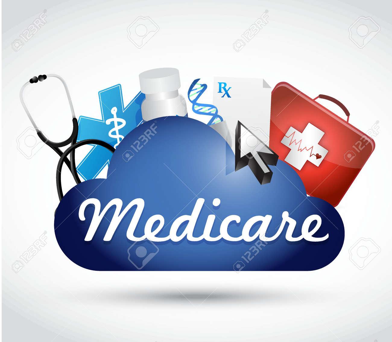 Medicare cloud technology sign concept illustration design over white - 42585067