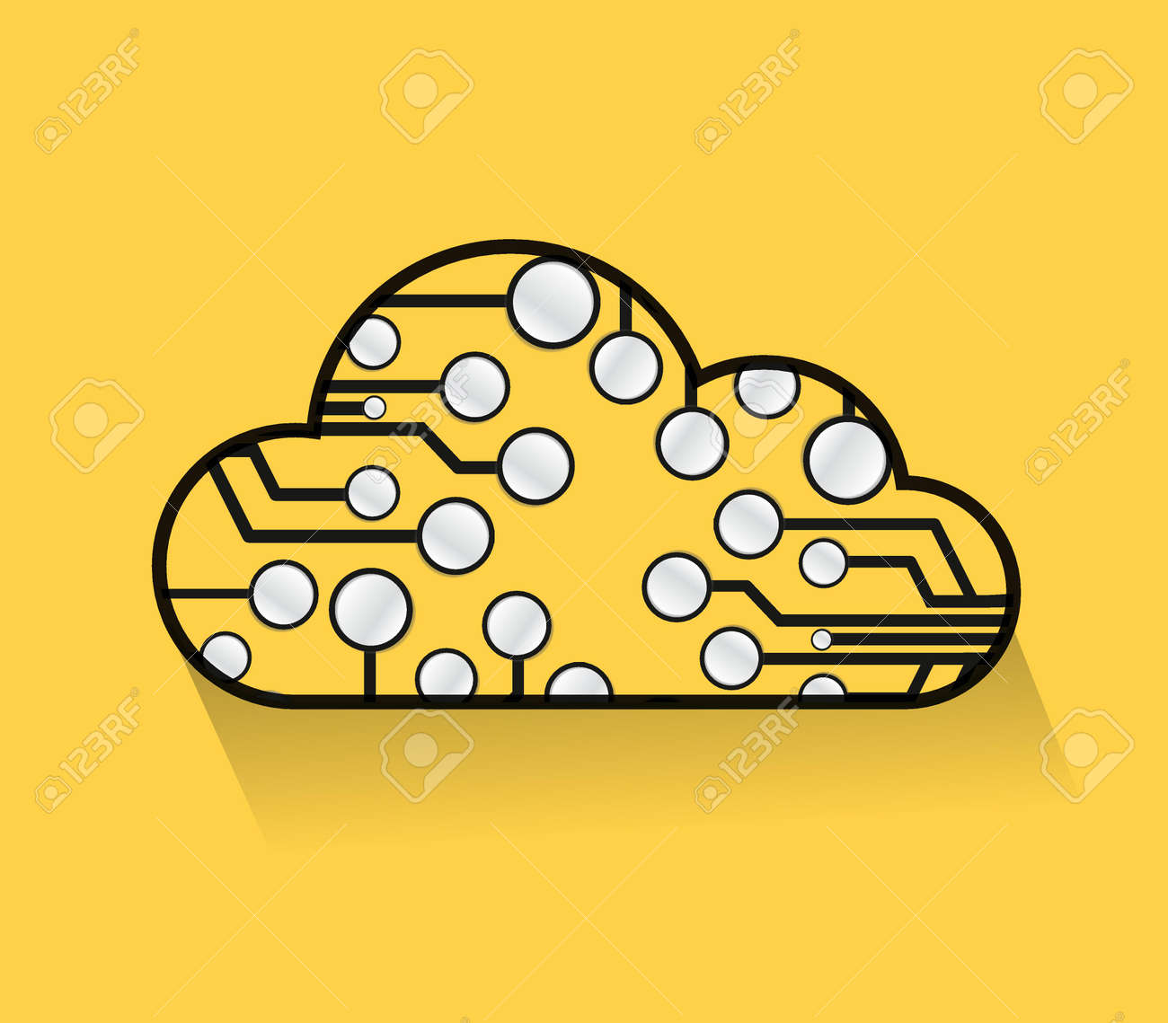 cloud computing circuits illustrations over a yellow background