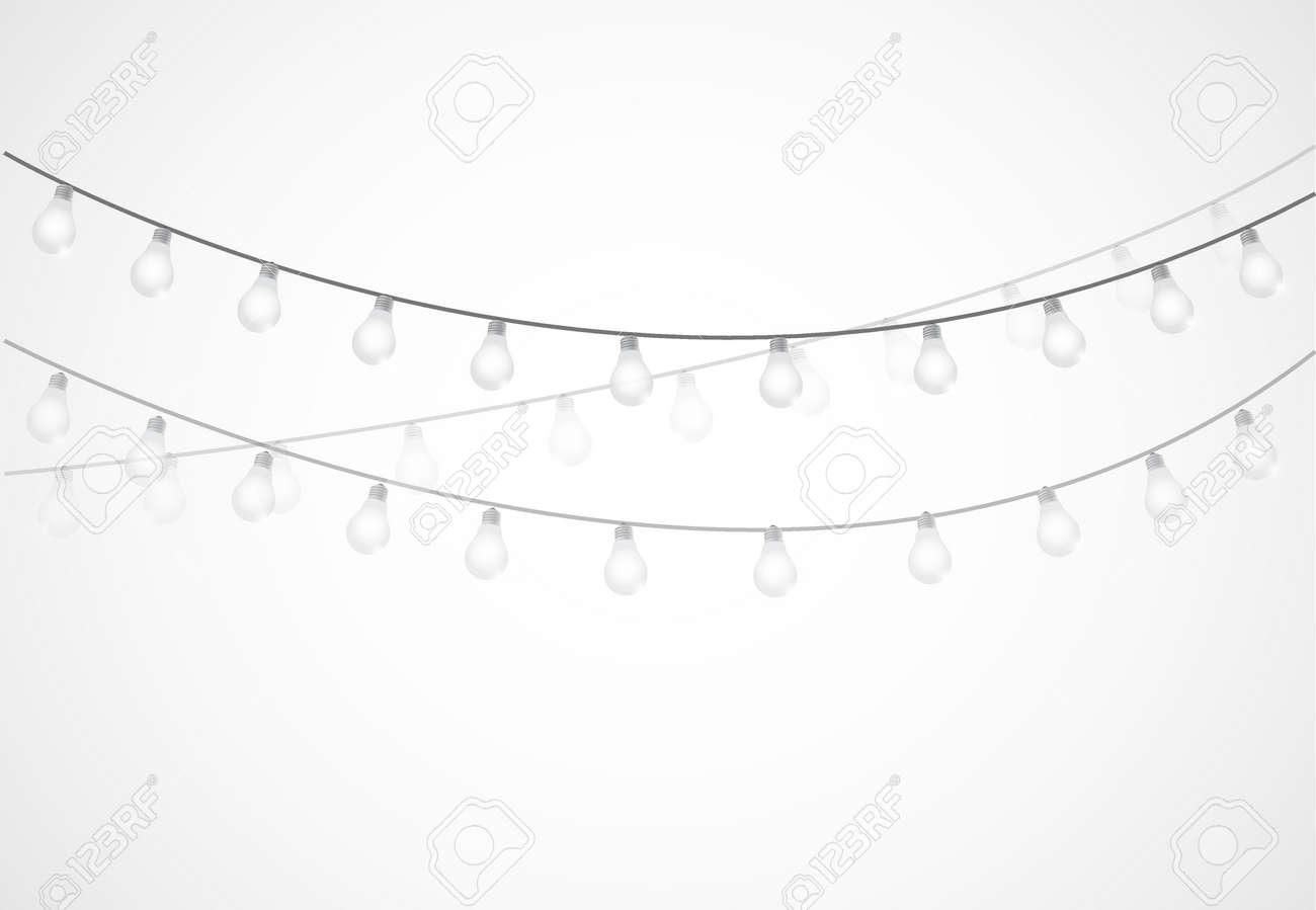 String Of Lights Hanging Light Bulbs Isolated Over White Stock Vector