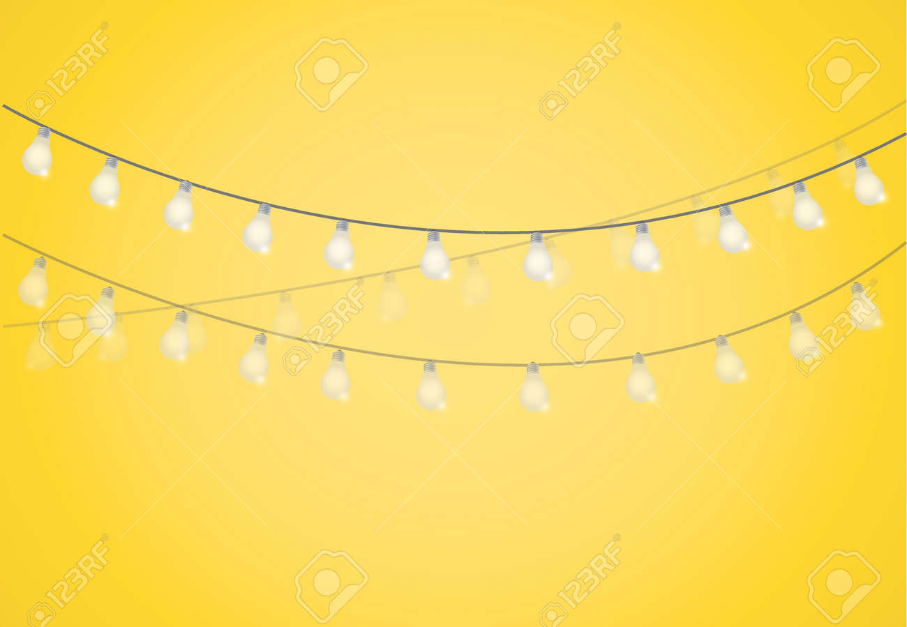 string of lights hanging light bulbs design graphic stock vector