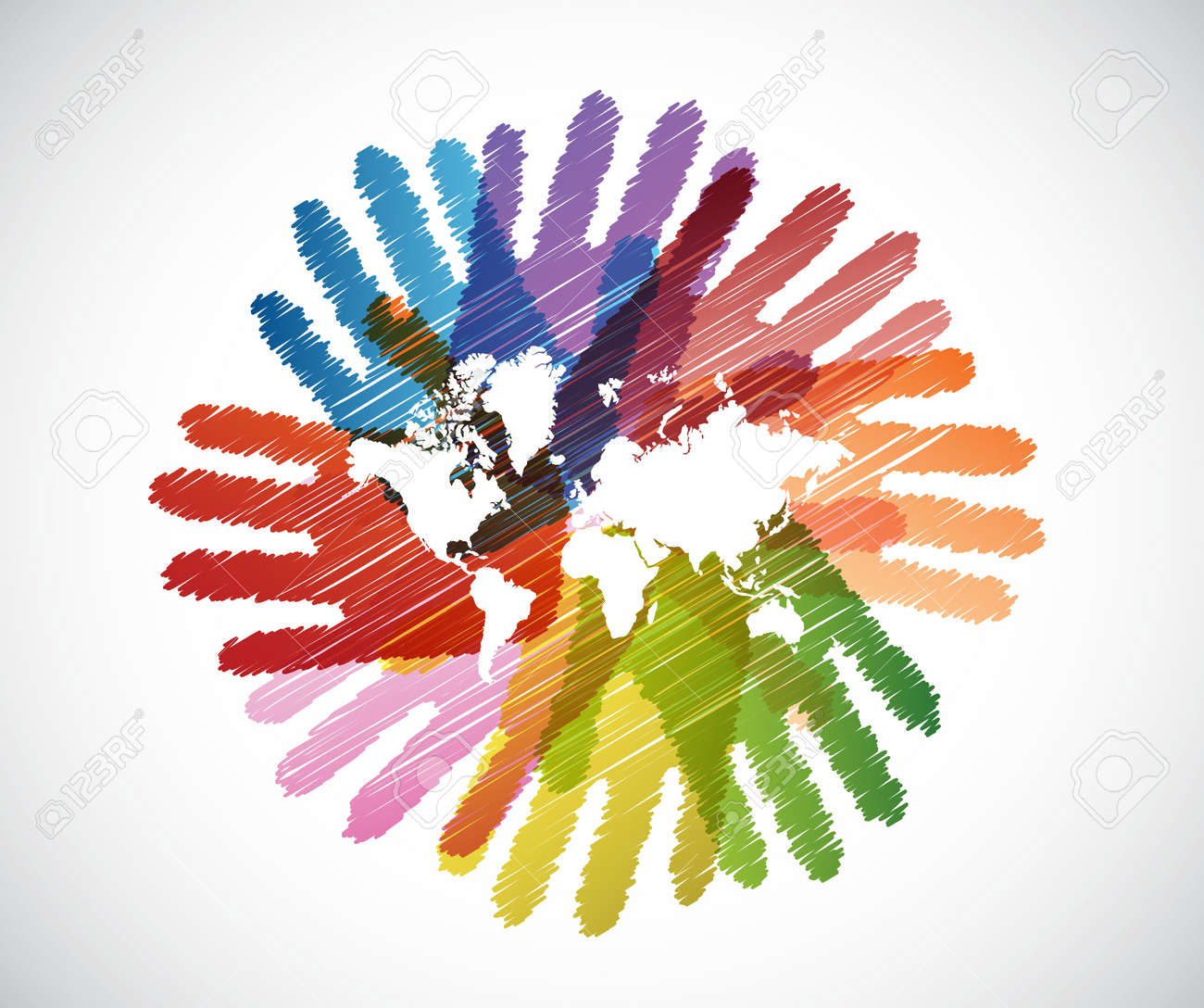 World map over diversity hands circle illustration design royalty world map over diversity hands circle illustration design stock vector 44137972 gumiabroncs Images