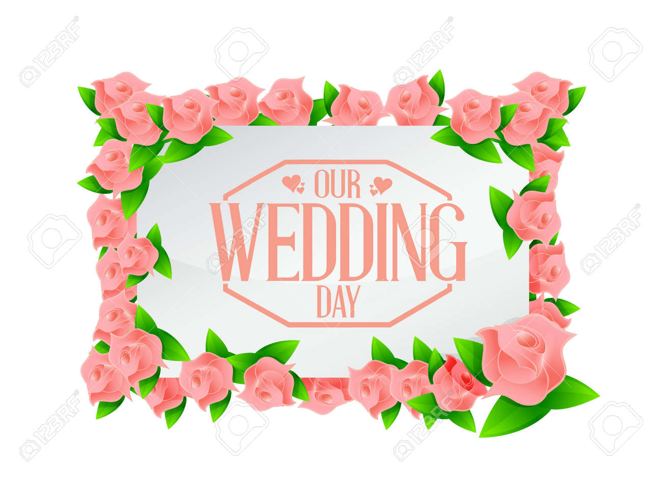 Our wedding day pink flowers board illustration design royalty free imagens our wedding day pink flowers board illustration design junglespirit Image collections