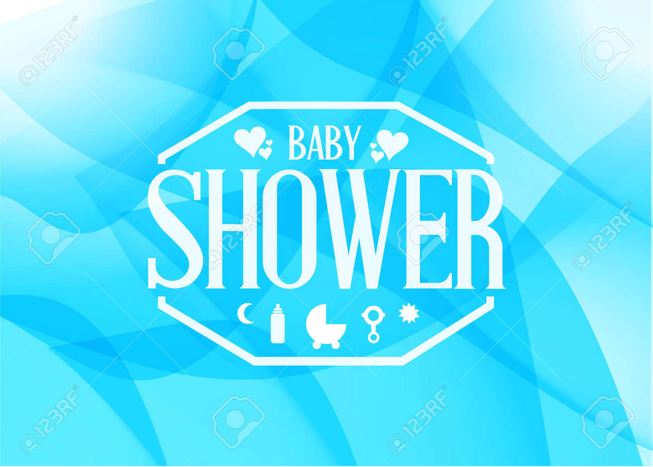 Baby Shower Sign Illustration Design Blue Abstract Graphic
