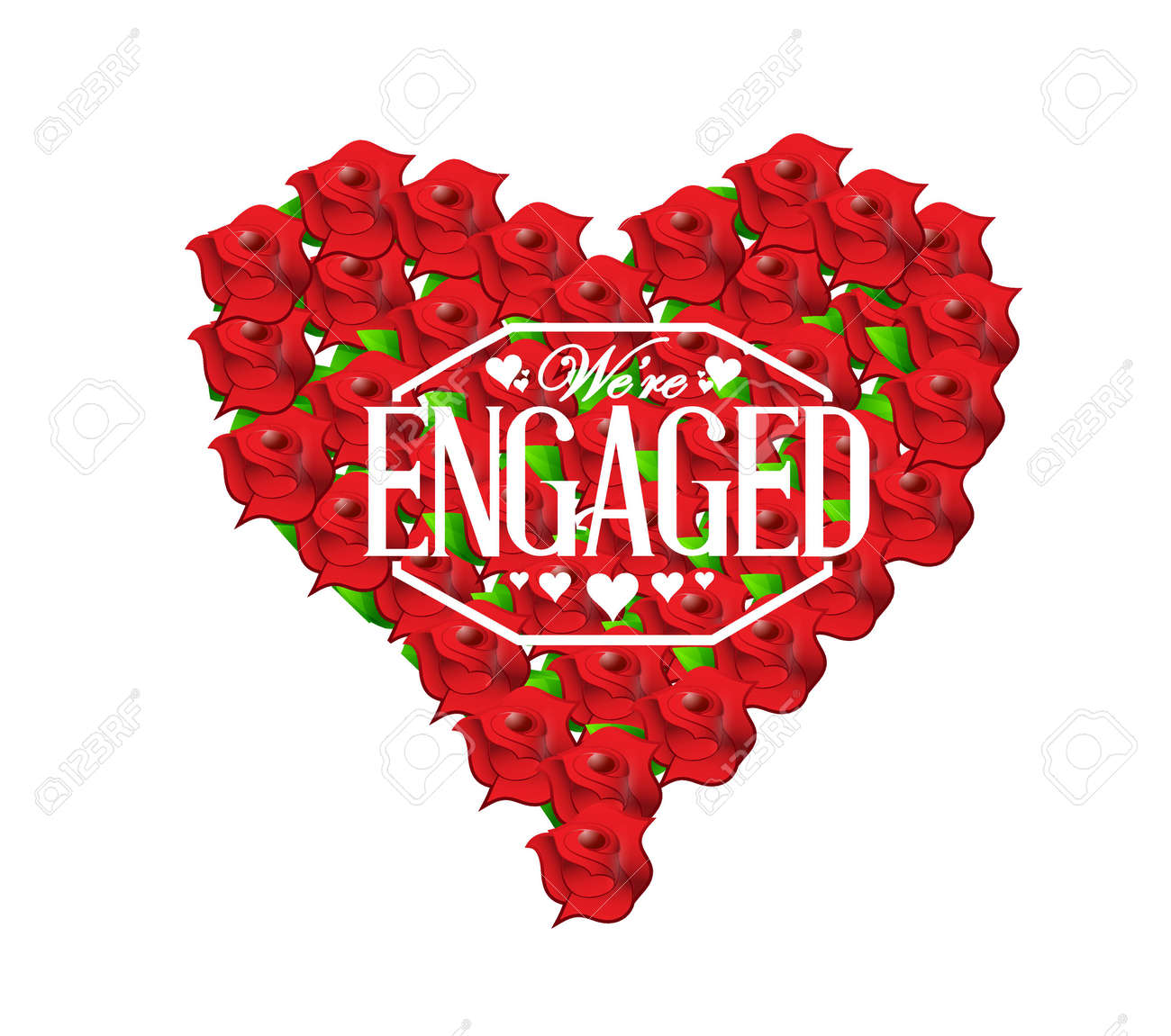 we are engaged sign stamp red roses heart illustration design