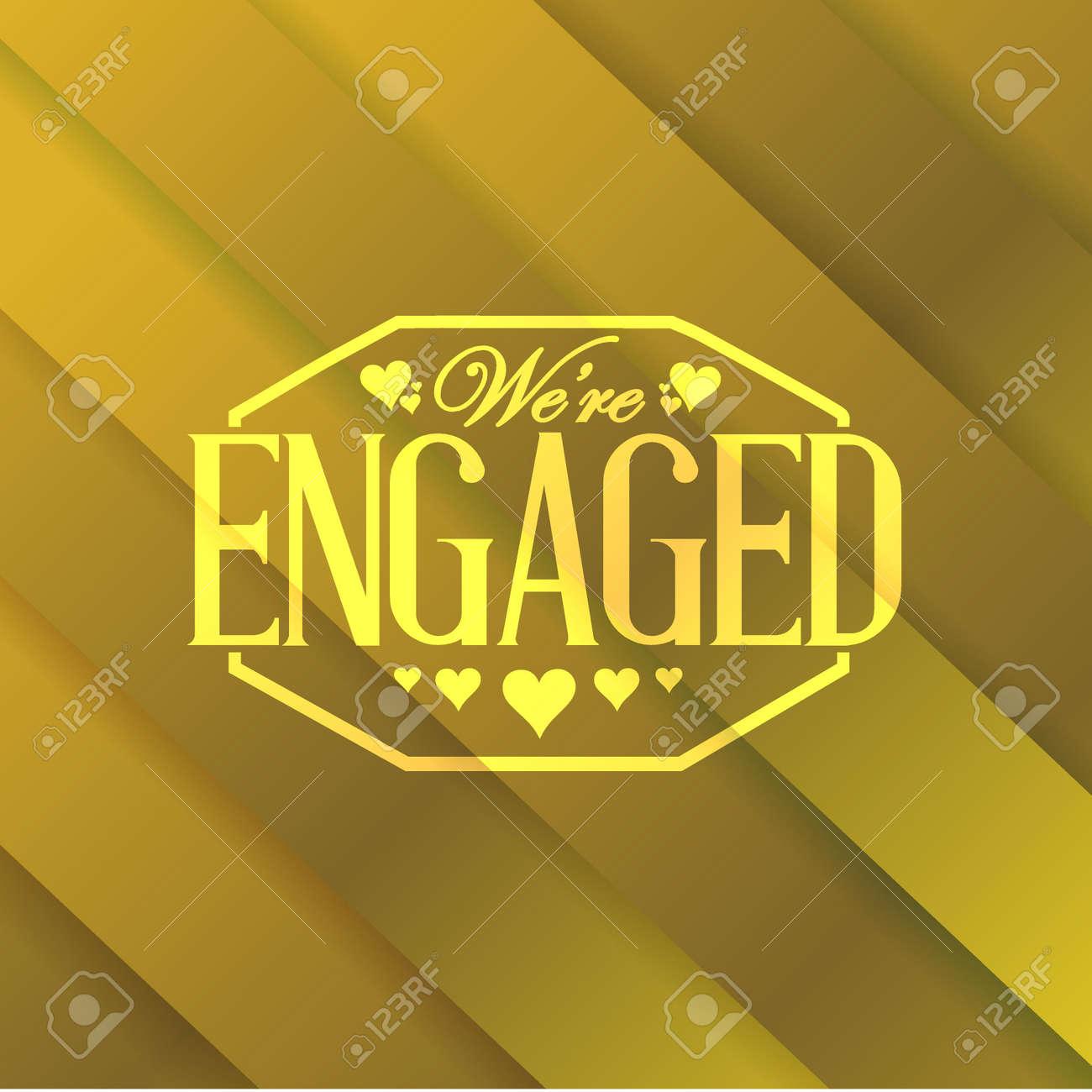 we are engaged stamp gold card background illustration design