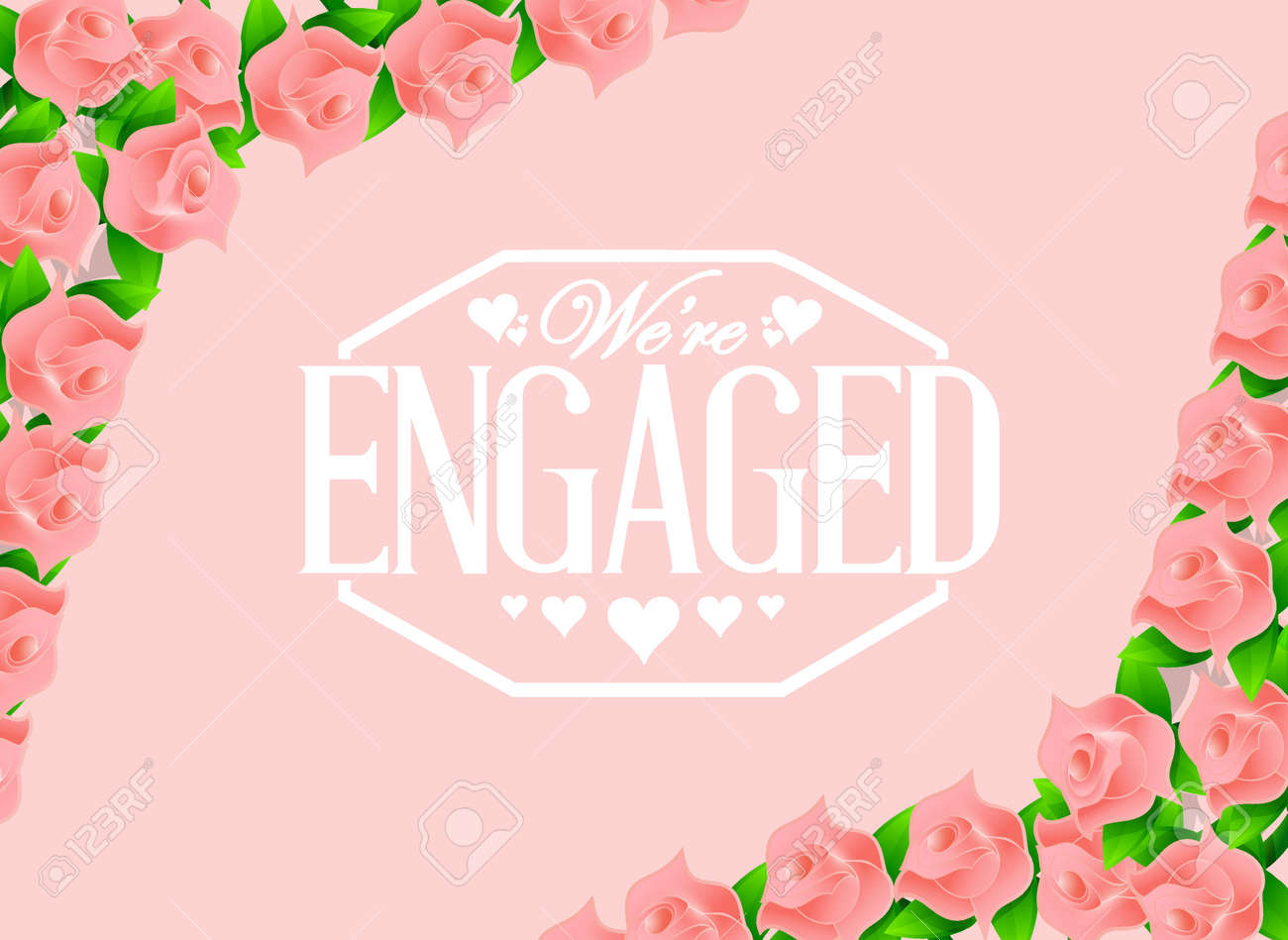 we are engaged stamp over pink roses background illustration