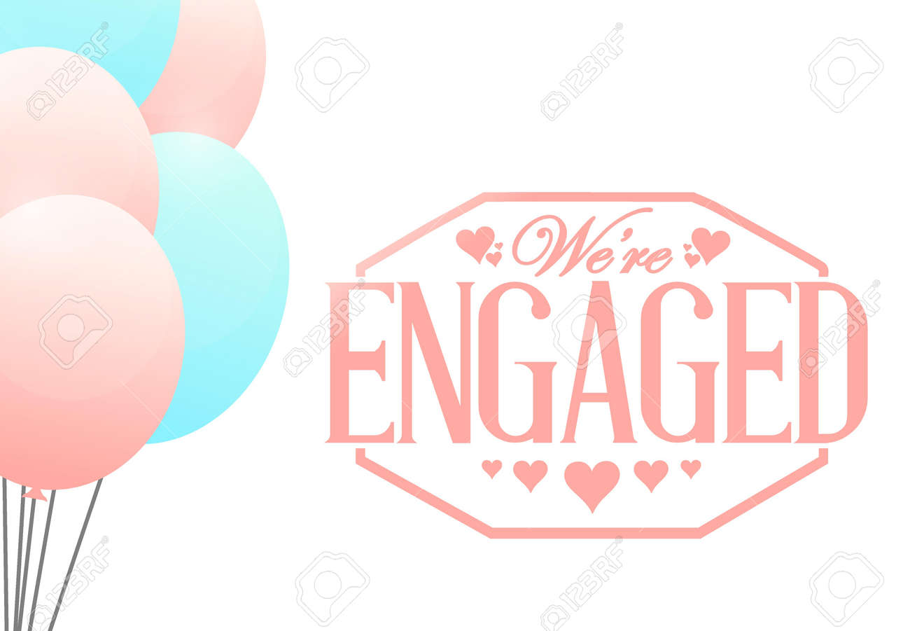 we are engaged stamp balloon background illustration design royalty