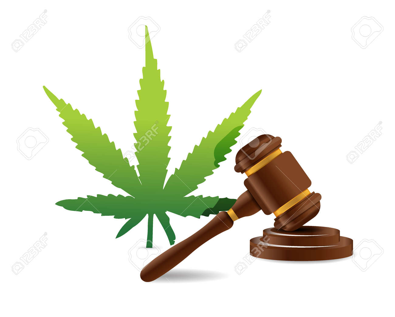 marijuana law hammer illustration design graphic icon - 46669151