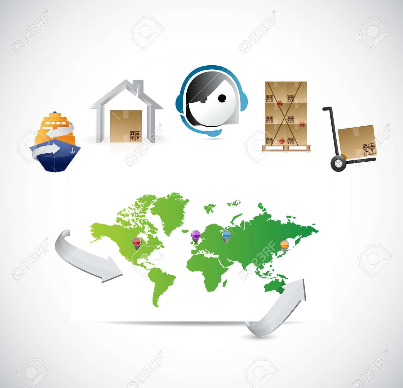 World map customer service logistics control illustration design world map customer service logistics control illustration design stock vector 50707964 gumiabroncs Gallery
