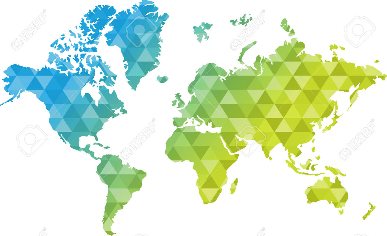 triangle shape blue and yellow world map illustration design graphic - 52757113