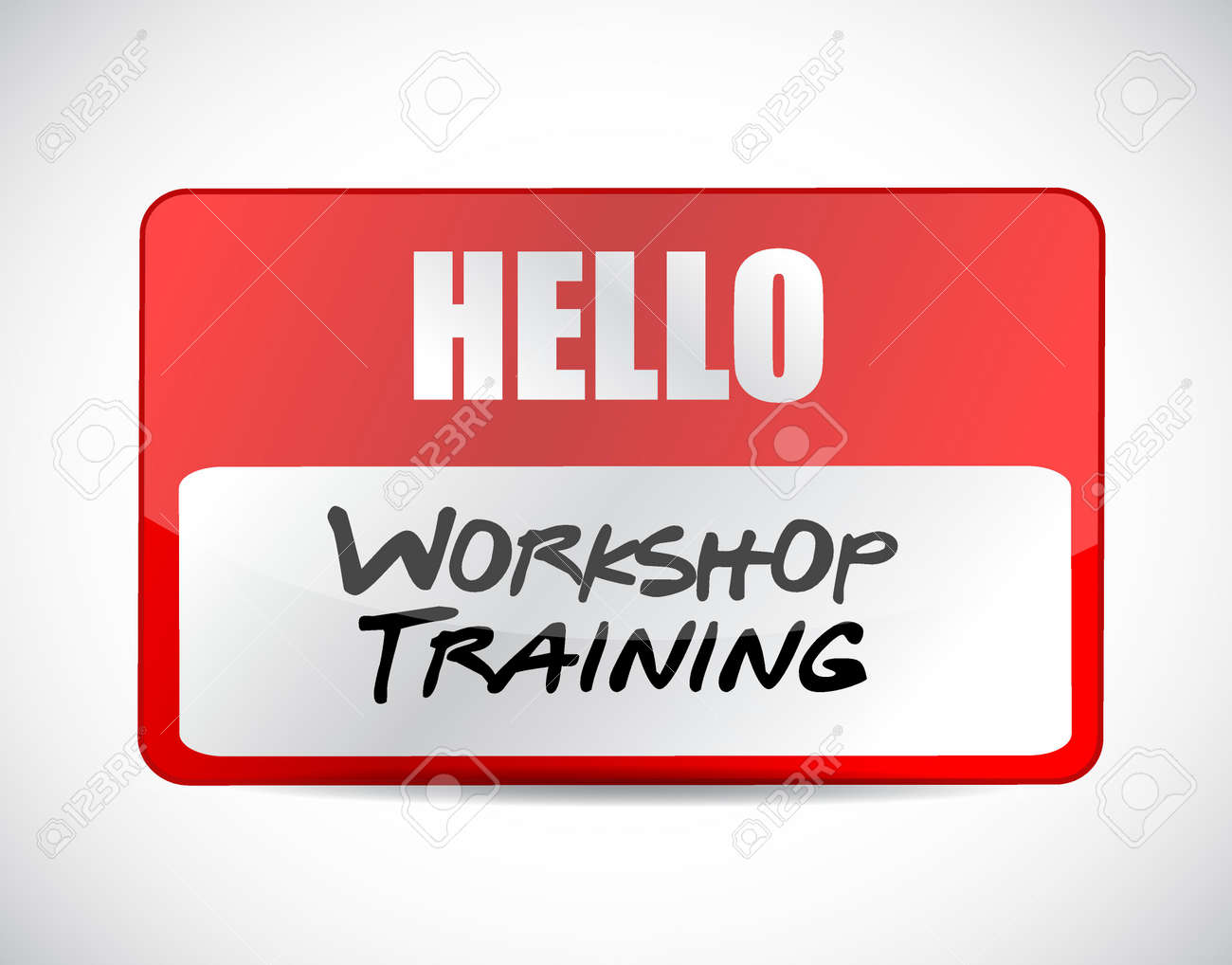 Workshop training name tag sign concept illustration design graphic