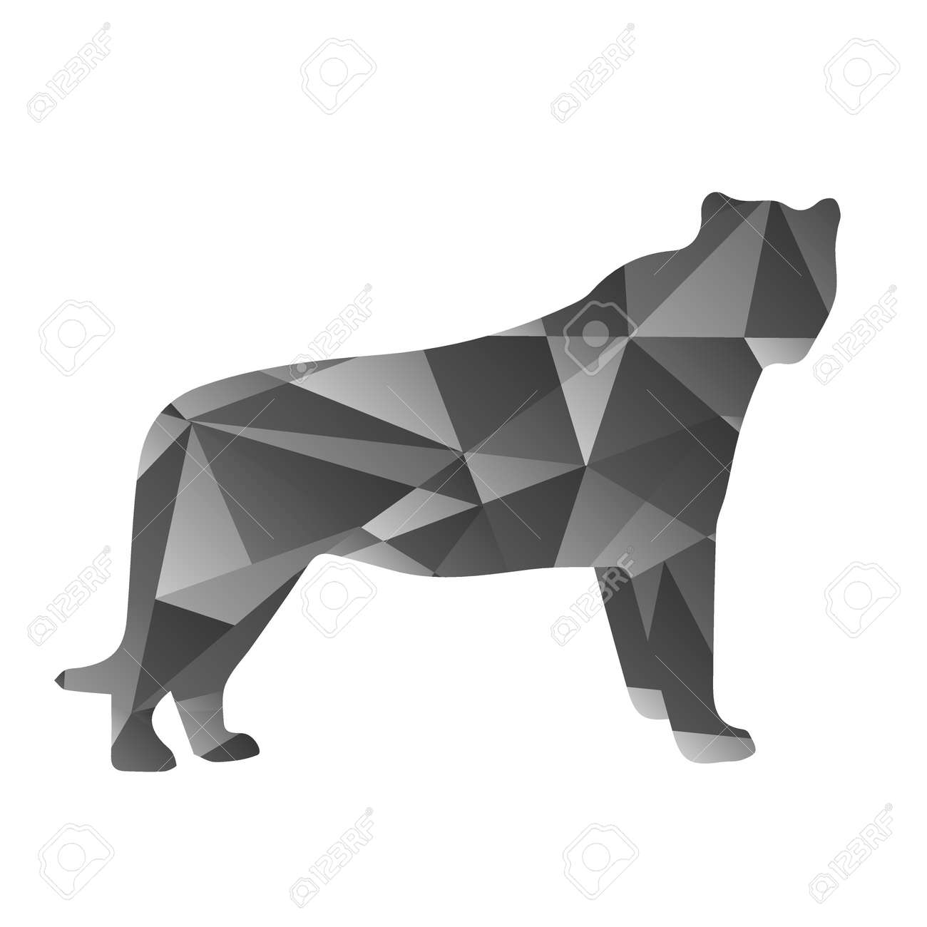 Grey Shapes Abstract Panther Animal Isolated Illustration Stock Vector