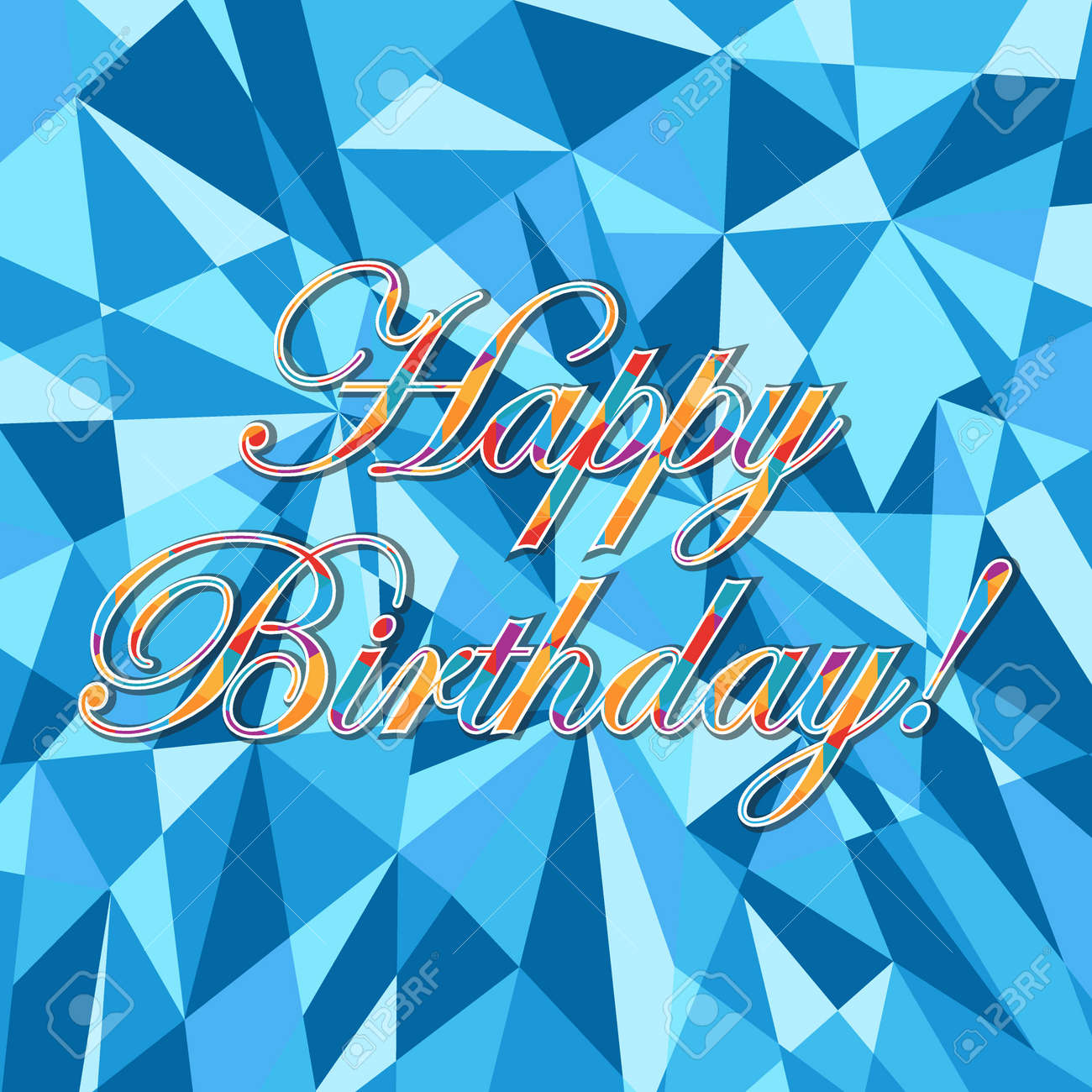 happy birthday abstract blue card pattern illustration design graphic background stock vector 57957535