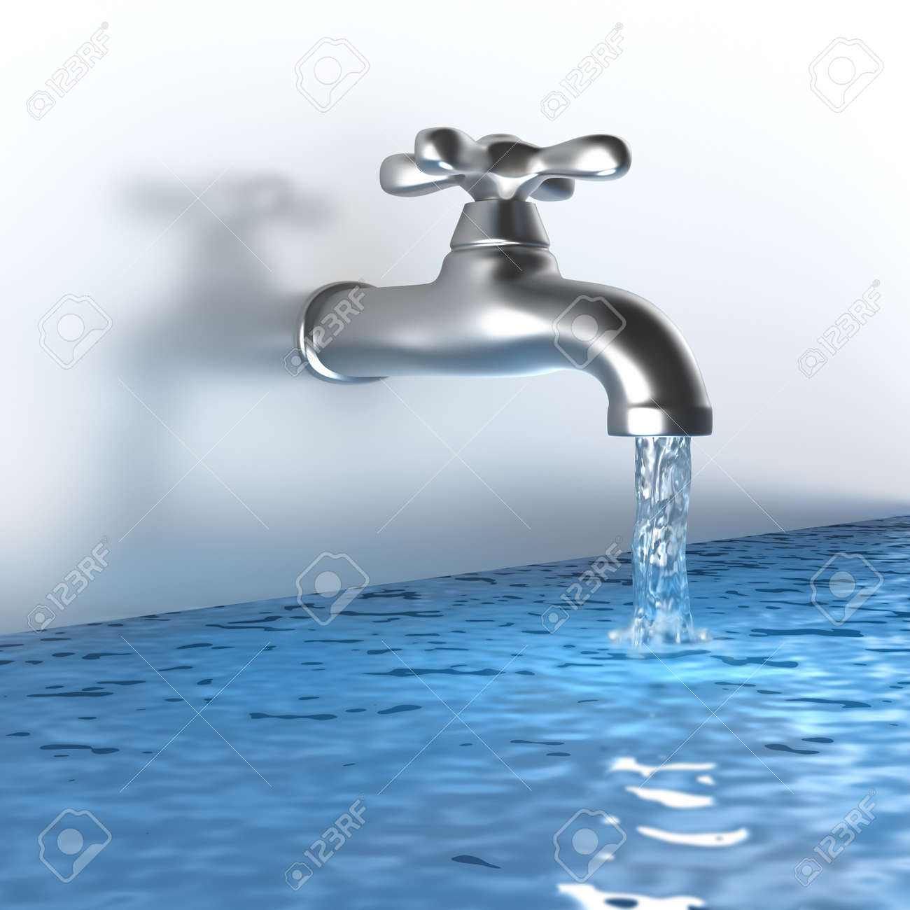 Chrome tap with a water stream Stock Photo - 11533613