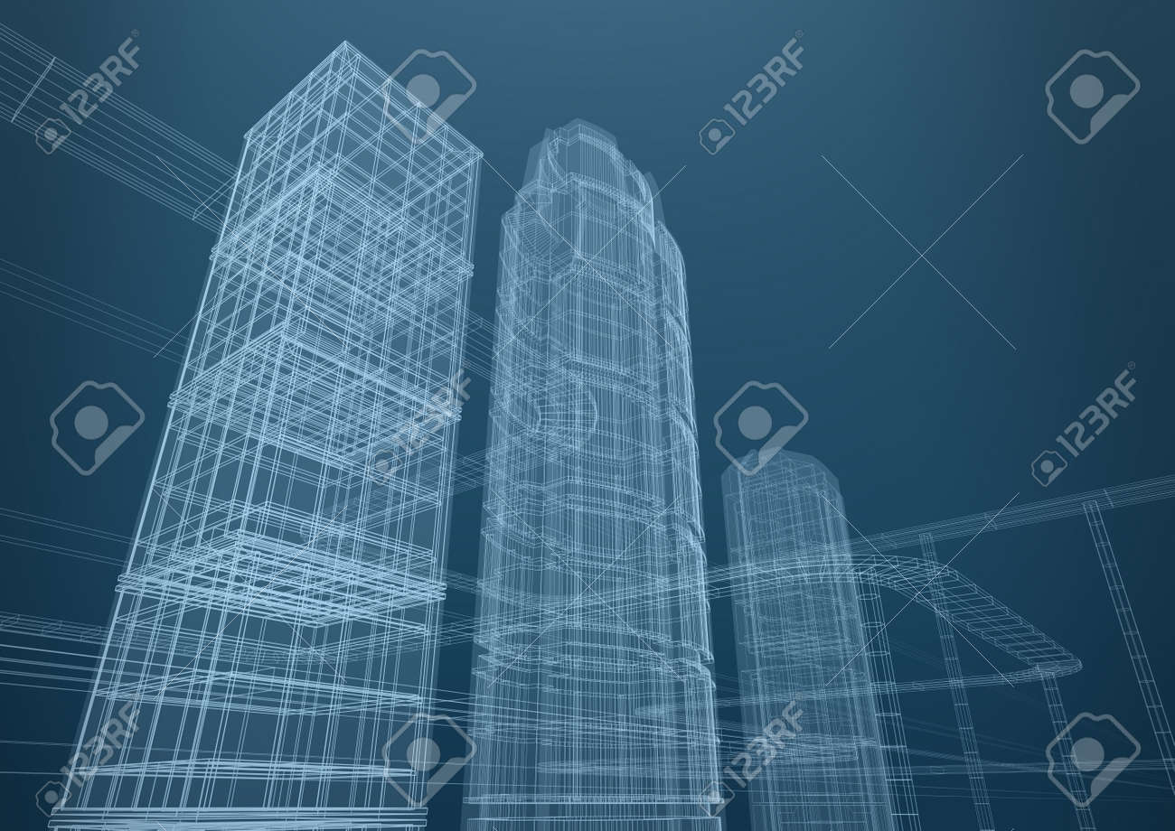 architecture blueprints skyscraper. City Of Skyscrapers In Shapes Concept 3D Design Stock Photo - 12688670 Architecture Blueprints Skyscraper A