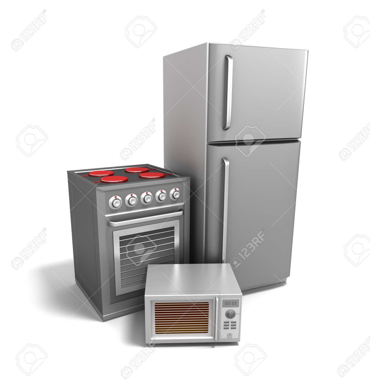 Kitchen electronics over white Stock Photo - 13235916