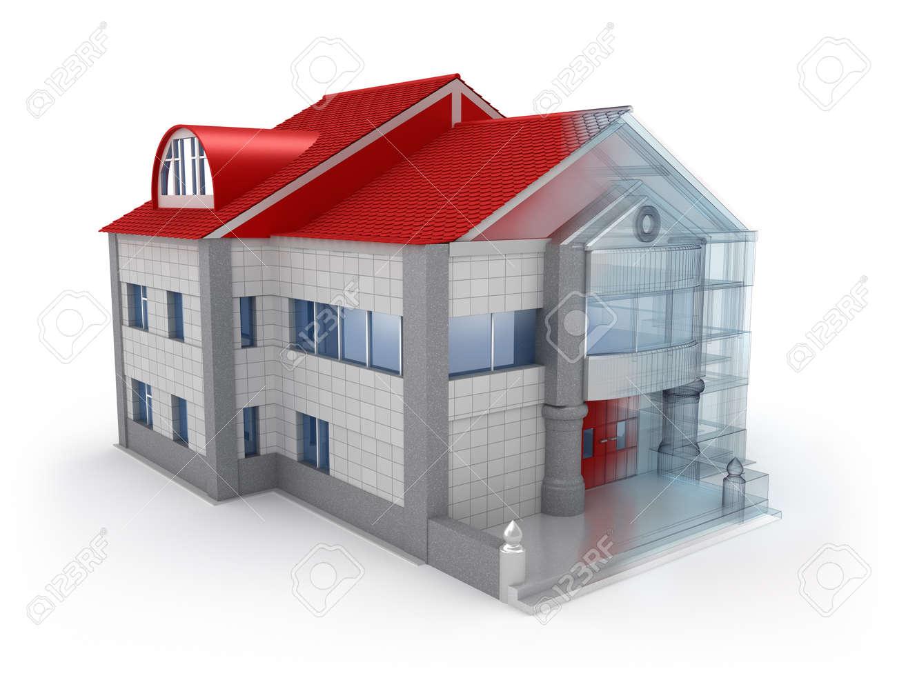 Exterieur-Design Haus über Weißem Hintergrund Lizenzfreie Fotos ...