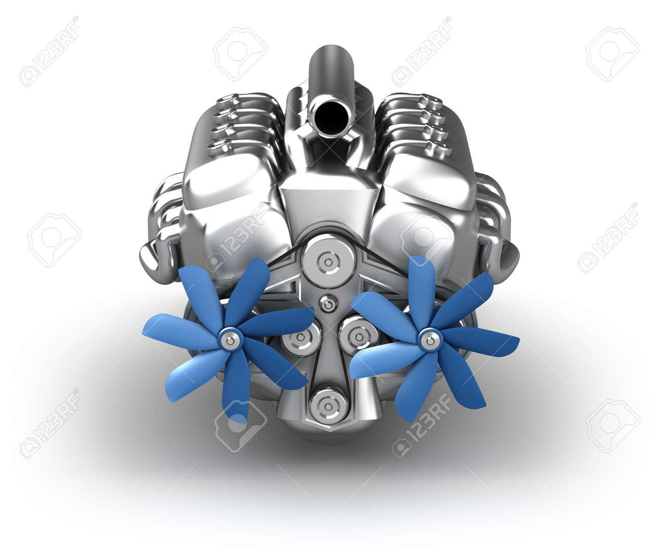 engine over white  My own design  Front view Stock Photo - 15406454