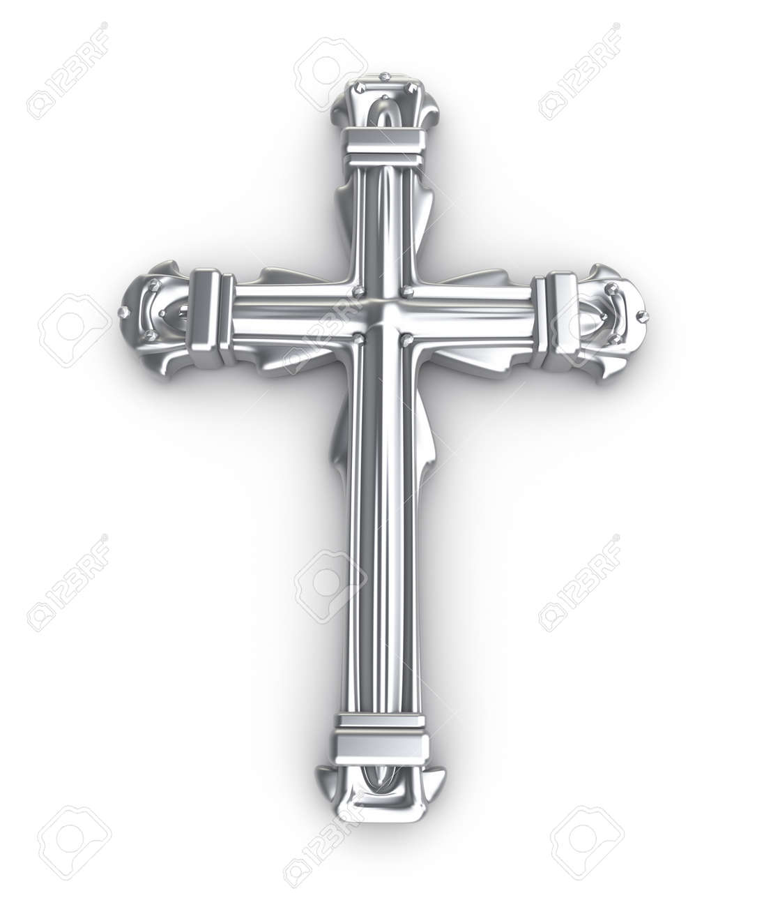 Silver cross over white Stock Photo - 15603502