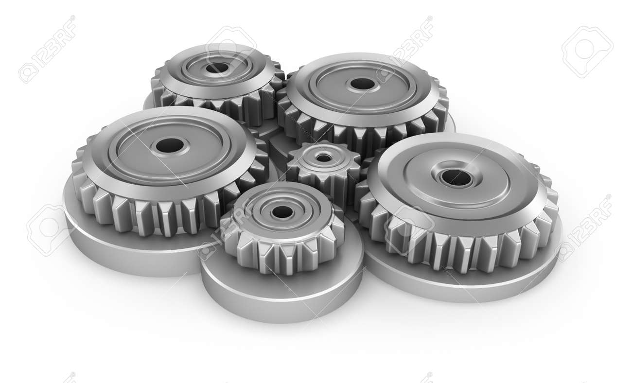 Gear system over white Stock Photo - 15753034