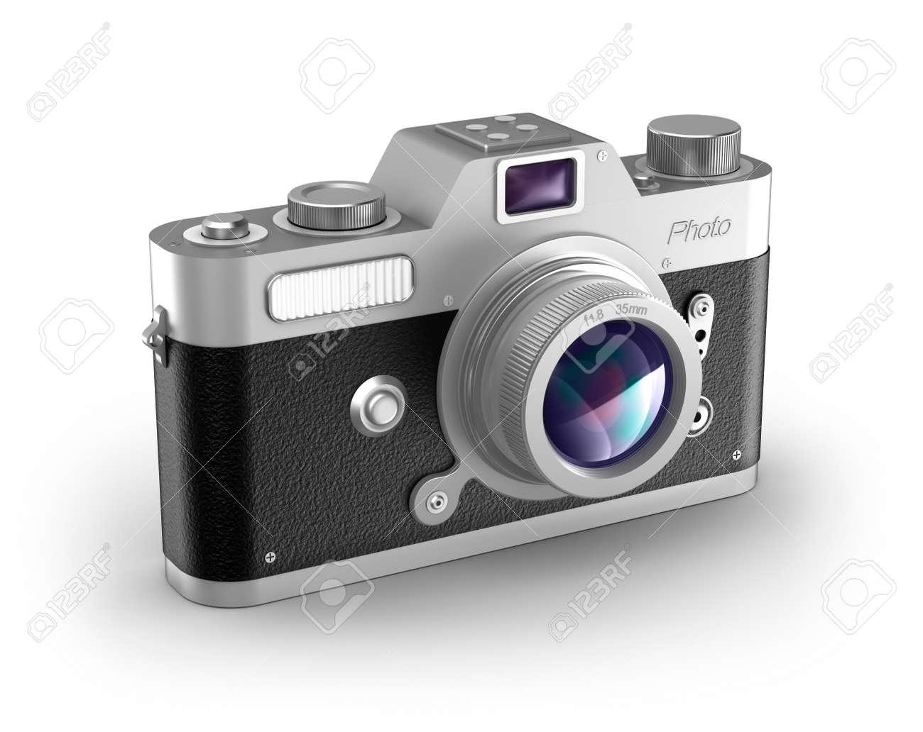 Retro photo camera over white  My own design Stock Photo - 16798185