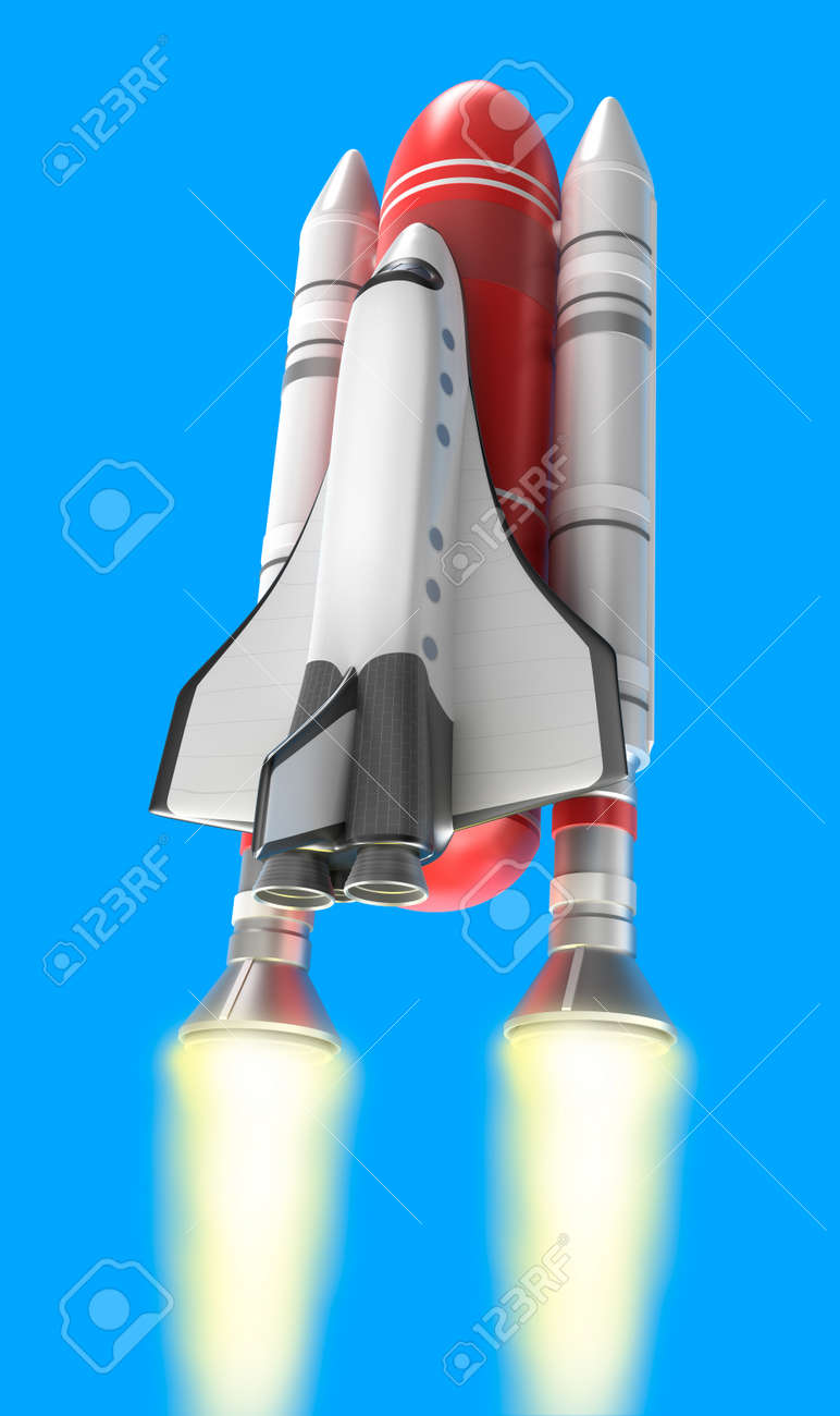 Shuttle launch on blue background  My own design Stock Photo - 17573239