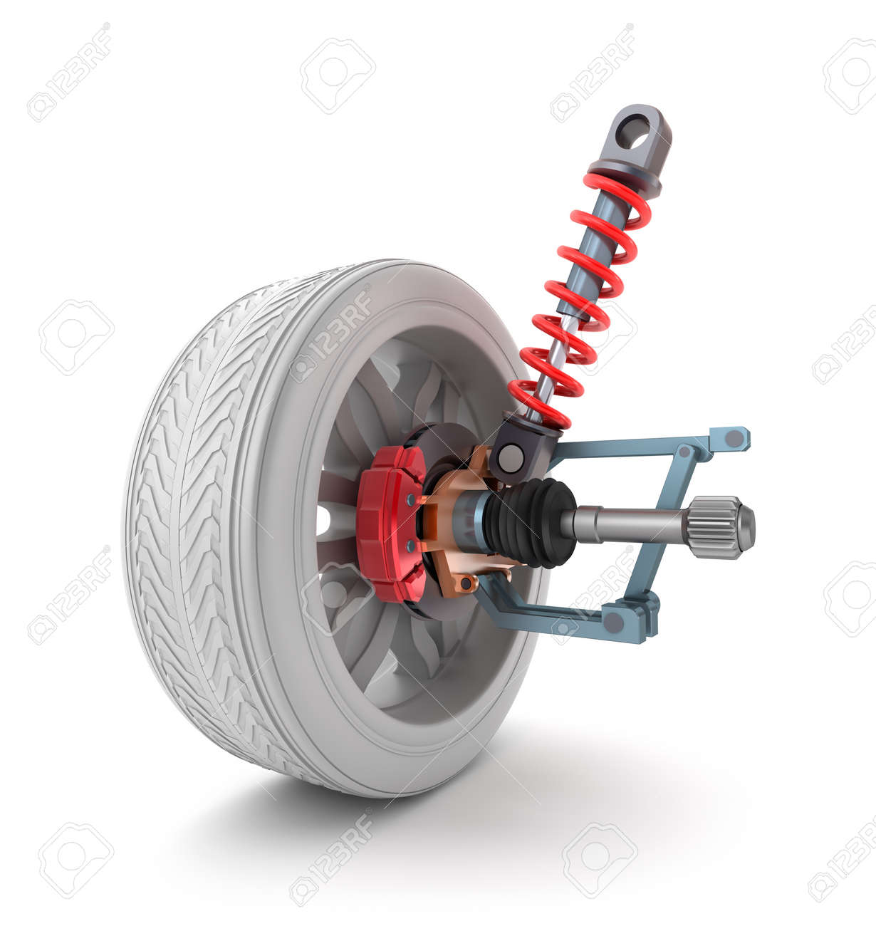 Wheel, shock absorber and brake pads Stock Photo - 20586694