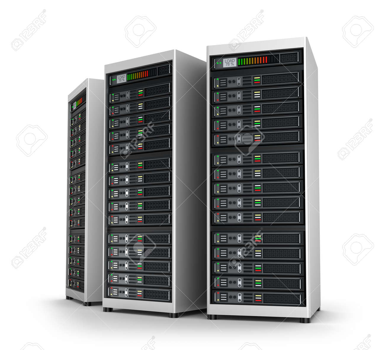 Row of network servers in data center isolated on white Stock Photo - 41248384