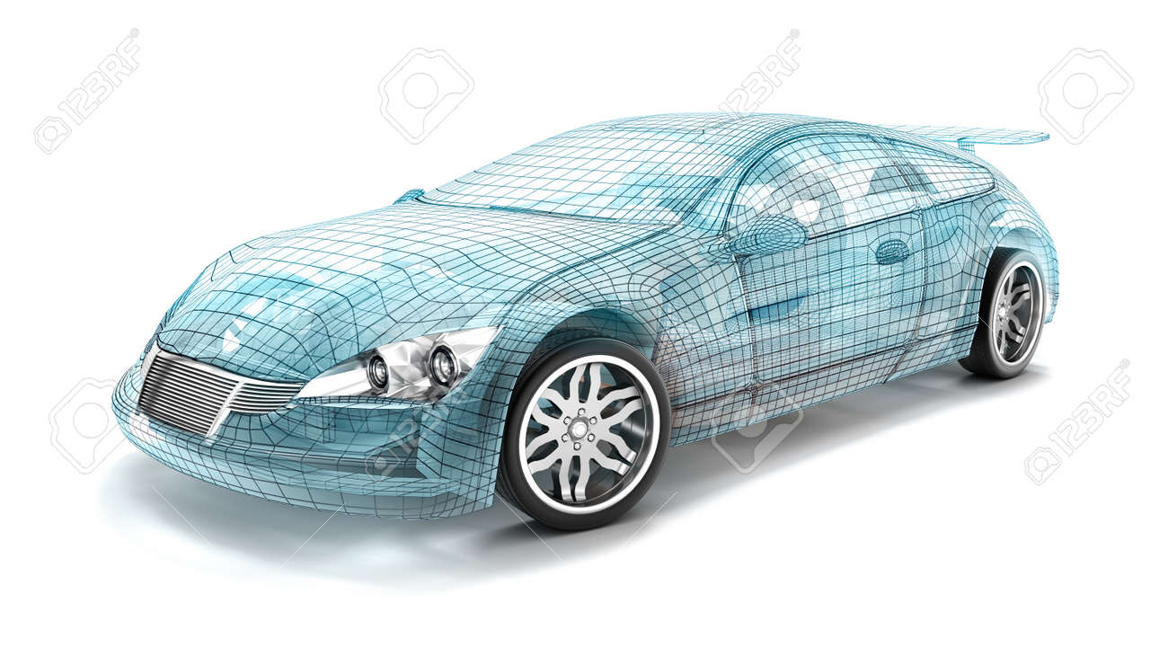 Car design wire model. My own design. Stock Photo - 41248446