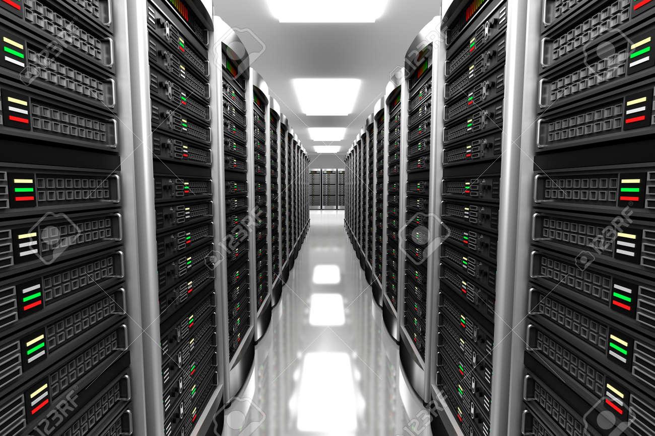 Modern interior of server room in datacenter Stock Photo - 41248546
