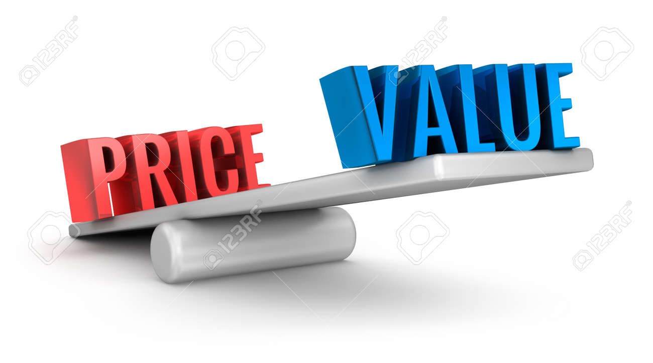 Value Price scale 3d word concept over white Stock Photo - 46737709
