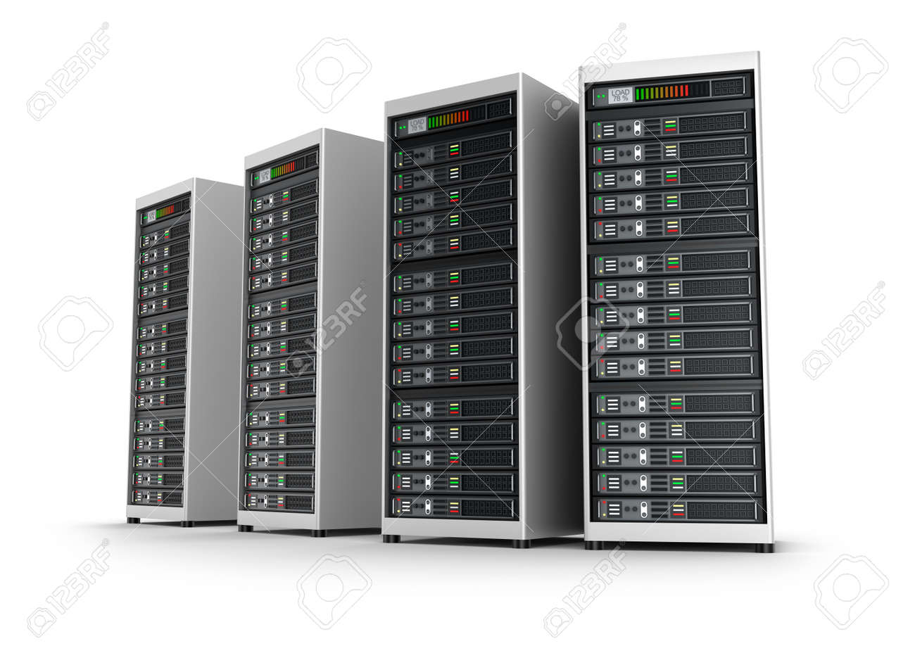 Row of network servers in data center isolated on white background Stock Photo - 46737682