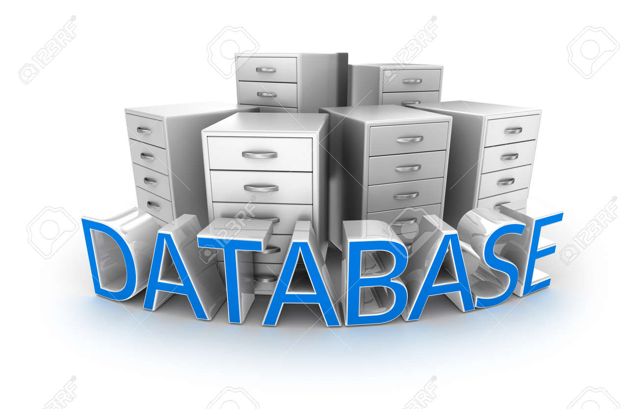 Database text and office containers, 3d Concept Stock Photo - 46737601