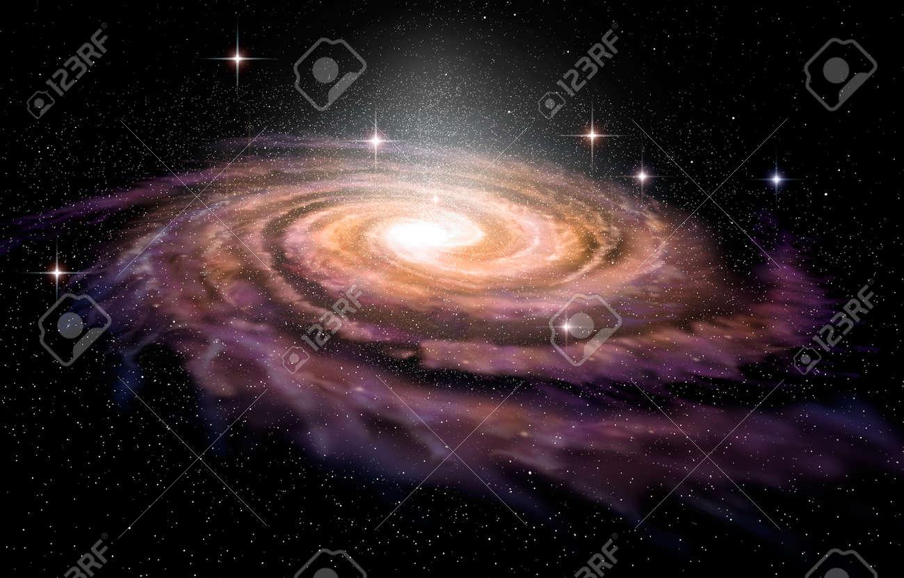 Spiral Galaxy in deep spcae, 3D illustration Stock Illustration - 48864740