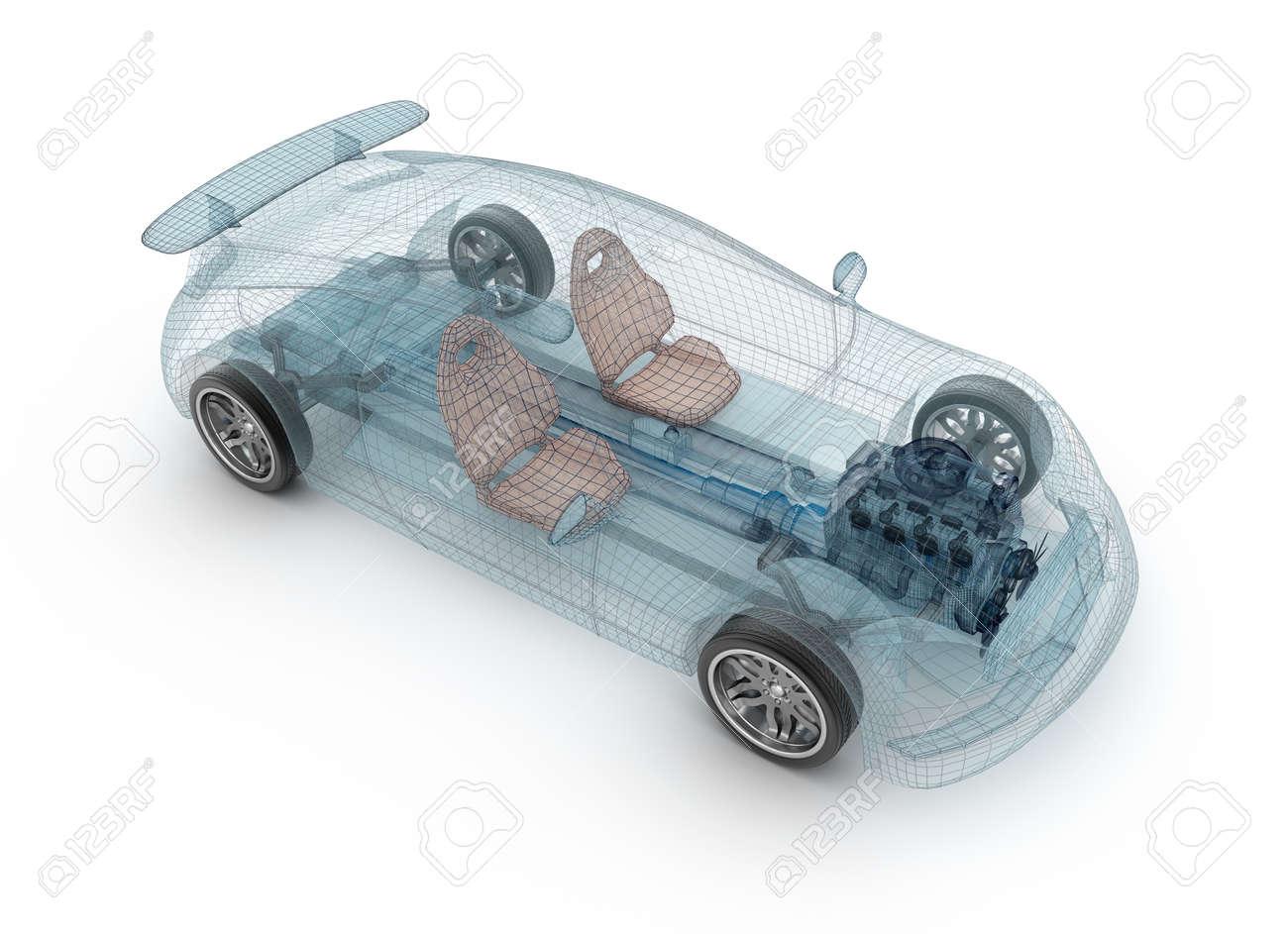 Design my car - Transparent Car Design Wire Model 3d Illustration My Own Car Design Stock