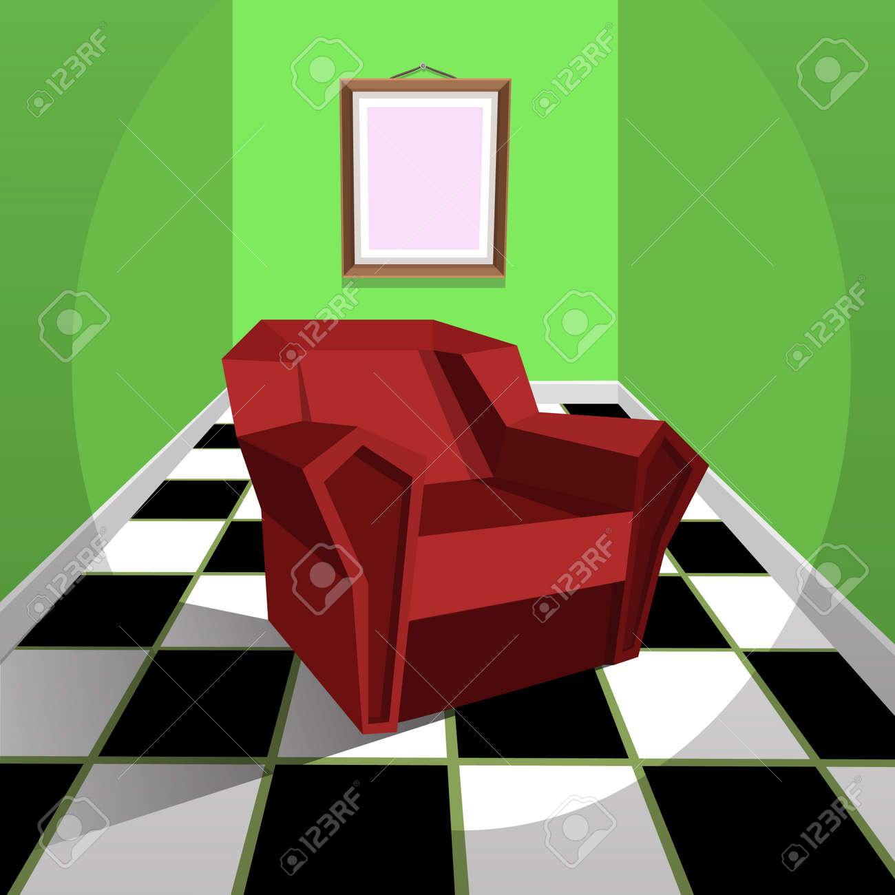 La chambre verte avec un fauteuil rouge, illustration de bande dessinée