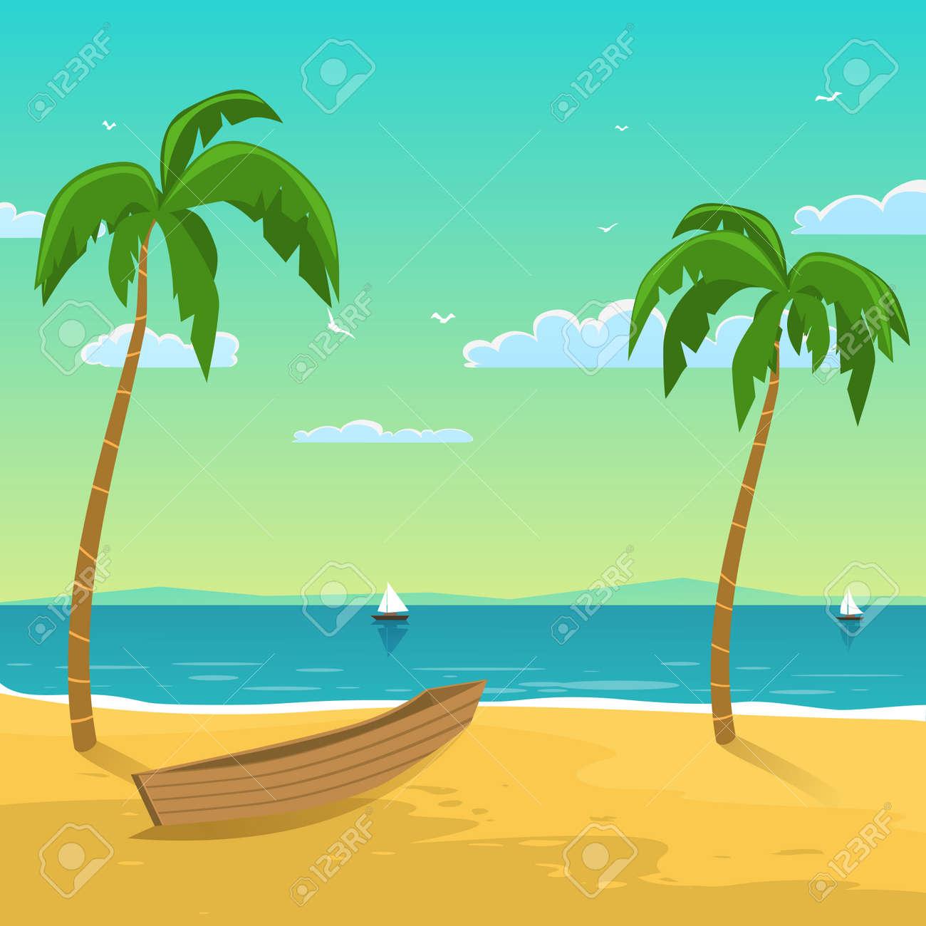 Paisaje Marino Con El Barco En La Playa Con Palmeras Fondo De La