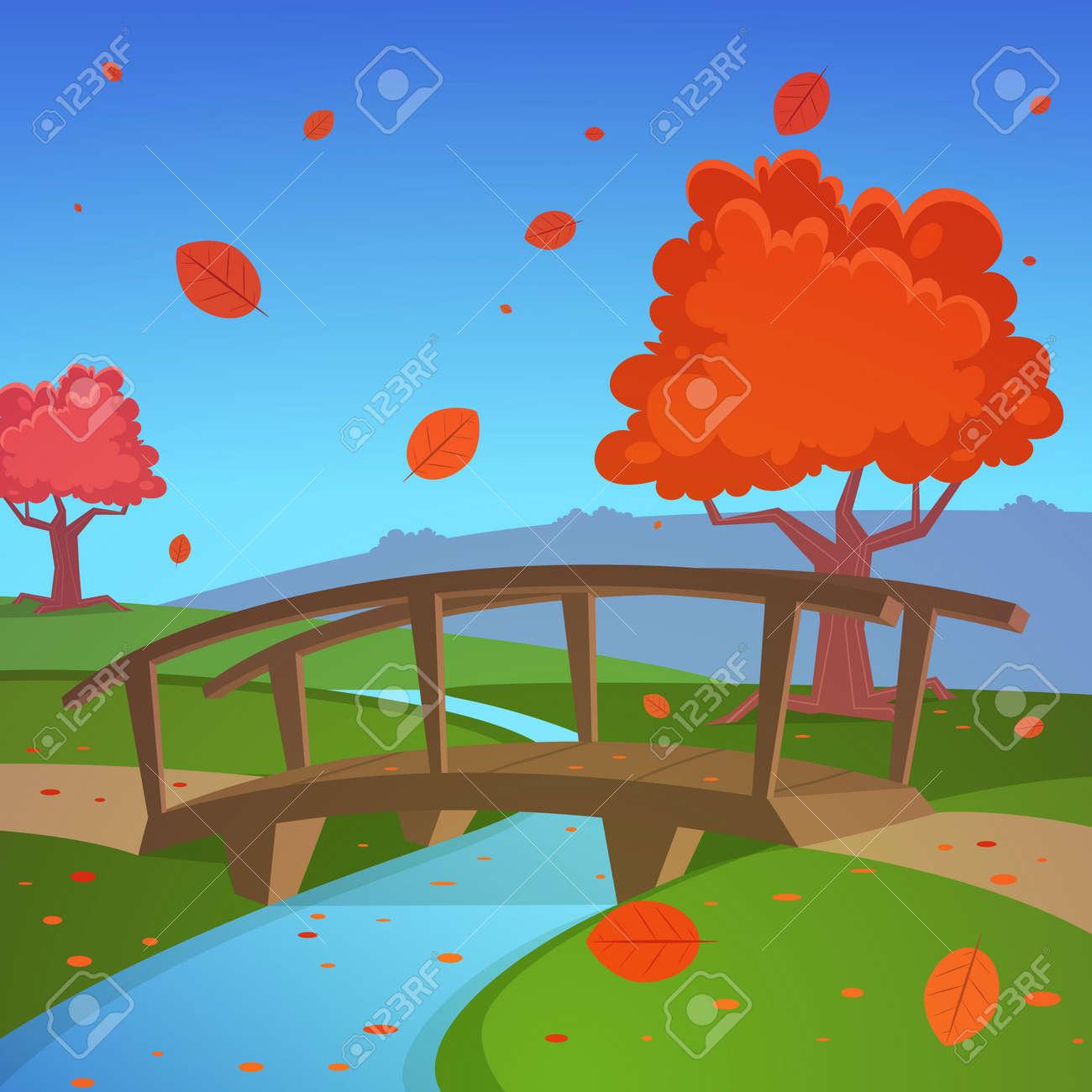 Autumn landscape with bridge - 34576338